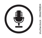 flat black microphone web icon... | Shutterstock .eps vector #386698804