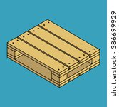 wooden pallet isolated on blue... | Shutterstock . vector #386699929