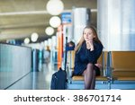 young woman in international... | Shutterstock . vector #386701714