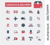 logistics   delivery icons  | Shutterstock .eps vector #386704999