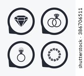 rings icons. jewelry with shine ... | Shutterstock . vector #386706511