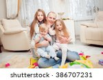 wonderful family at home. happy ... | Shutterstock . vector #386707231