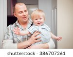 wonderful family at home. happy ... | Shutterstock . vector #386707261