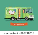 cool vector bookmobile truck or ... | Shutterstock .eps vector #386710615