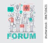 business forum event flat line... | Shutterstock .eps vector #386710621