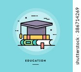 education  flat design thin... | Shutterstock .eps vector #386714269