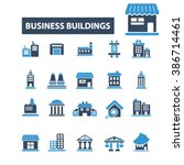 business buildings icons  | Shutterstock .eps vector #386714461