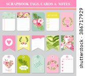 scrapbook tags  cards and notes ... | Shutterstock .eps vector #386717929