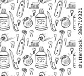 seamless pattern with dental... | Shutterstock .eps vector #386719321