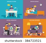 family with children concept... | Shutterstock .eps vector #386723521
