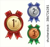 award ribbon. gold  silver and... | Shutterstock .eps vector #386726281