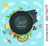 360 degree camera  new camera... | Shutterstock .eps vector #386736079