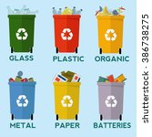 colorful recycle garbage bins... | Shutterstock .eps vector #386738275