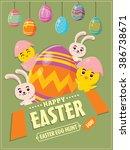 vintage easter egg poster... | Shutterstock .eps vector #386738671