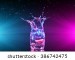 colorful cocktail in glass with ... | Shutterstock . vector #386742475