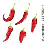 set of chili doodle isolated on ... | Shutterstock . vector #386765344