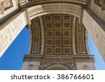 detail arc de triomphe paris... | Shutterstock . vector #386766601