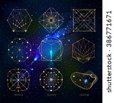 sacred geometry forms on space... | Shutterstock .eps vector #386771671