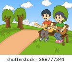 children playing guitar in the... | Shutterstock .eps vector #386777341