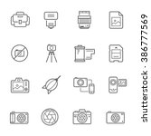 lines icon set   camera and... | Shutterstock .eps vector #386777569