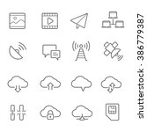 lines icon set   network... | Shutterstock .eps vector #386779387