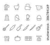 lines icon set   kitchenware | Shutterstock .eps vector #386784169