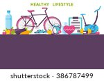 healthy living  sport  food ... | Shutterstock .eps vector #386787499