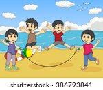 children playing jumping rope... | Shutterstock .eps vector #386793841