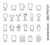 lines icon set   glass and ... | Shutterstock .eps vector #386795737