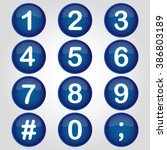 icon blue buttton number vector