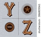 alphabet western letters... | Shutterstock .eps vector #386805061