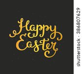 happy easter card with holiday... | Shutterstock . vector #386807629