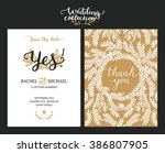 save the date cards  wedding... | Shutterstock . vector #386807905