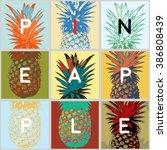 fun stylized tropical fruits ... | Shutterstock .eps vector #386808439