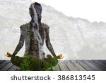silhouette of asian woman yoga... | Shutterstock . vector #386813545