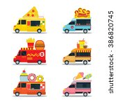 fast food shop  truck  pizza ... | Shutterstock .eps vector #386820745