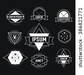 black and white hipster logo.... | Shutterstock . vector #386821771