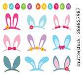 easter vector photo booth props ... | Shutterstock .eps vector #386827987