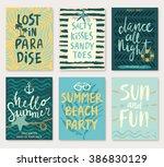 Summer hand drawn calligraphyc card set. Vector illustration. | Shutterstock vector #386830129