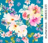 seamless pattern with flowers... | Shutterstock . vector #386831155
