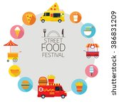 street  and fast food  truck ... | Shutterstock .eps vector #386831209