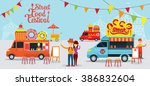 street  and fast food  truck ... | Shutterstock .eps vector #386832604