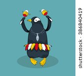dancing cute penguin. vector... | Shutterstock .eps vector #386840419