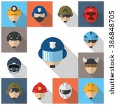 helmet icons with long shadow. | Shutterstock .eps vector #386848705