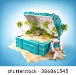 fantastic tropical island with... | Shutterstock . vector #386861545