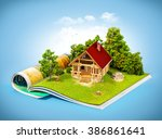 cute rural house in a forest on ... | Shutterstock . vector #386861641
