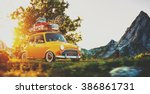 cute little retro car with... | Shutterstock . vector #386861731