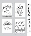 set of four creative boho style ...   Shutterstock .eps vector #386875915