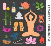 set ayurveda icons. vector... | Shutterstock .eps vector #386884195