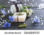 soap  cream and bath salt with... | Shutterstock . vector #386888935